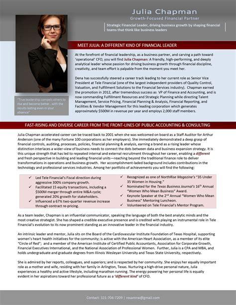 traditional executive biography career steering premium