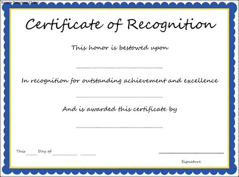 Certificate Of Recognition Template Army Certificate Of Achievement Template Exle Mughals