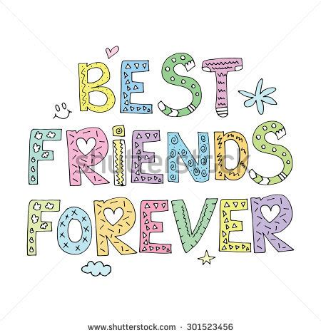 we sign our cards and letters bff best friends forever greeting card postcard stock vector 50002