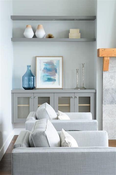 Living Room Shelves Cabinets by Gray Shelves In White Living Room Built In Design Ideas
