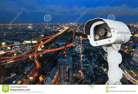 Cctv With Blur City In Background Stock Image  Image Of