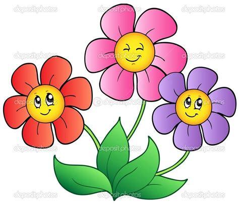 coloring cartoon spring face drei cartoon blumen stockilllustration cartoon blumen blumen