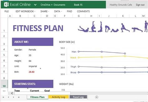 create  track  fitness plan  excel