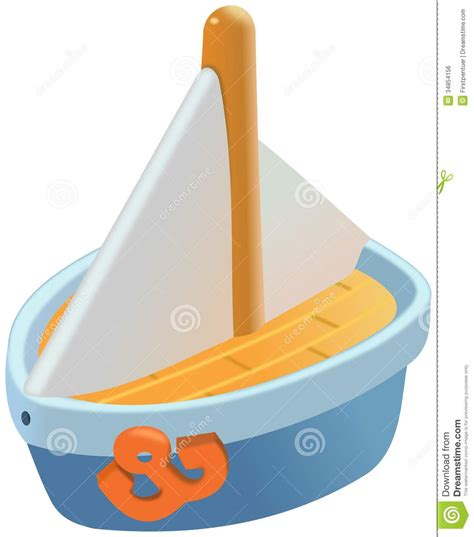 Toy Boat Outline by Small Blue Plastic Sailboat Toy Royalty Free Stock Image