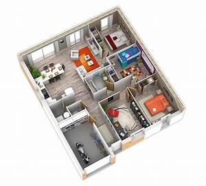 plan interieur plein pied plan maison pinterest With plan maison gratuit 3d 6 texte