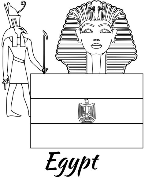 high quality egyptian flag  sphinx coloring page  print