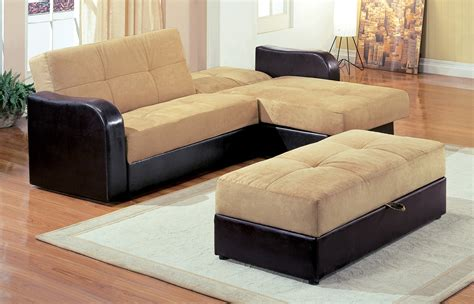 Furniture Large L Shaped Brown Leather Sofa With Pull Out