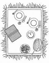 Picnic Coloring Netart Lunch Preparing Drawing Printable Foods Template sketch template