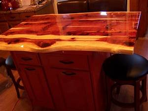Eastern red cedar live edge kitchen island with reclaimed