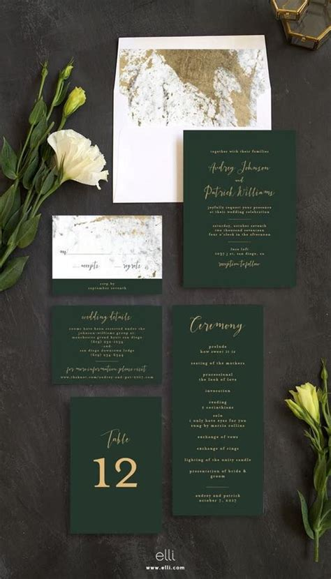 green gold glam stationery formal modern wedding suite