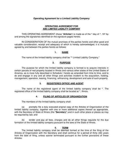 operating agreement contract forms