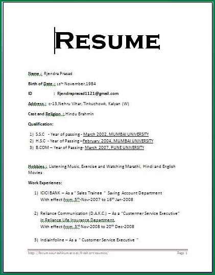Simple Resume Format Doc by Resume Format For Freshers 12th Pass