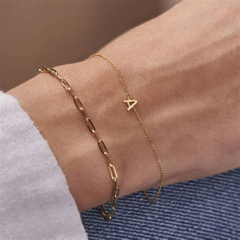 9ct Gold Petite Initial Bracelet By Posh Totty Designs ...