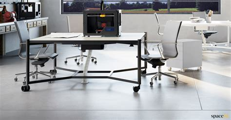 Office Desk On Wheels by White Office Desks Hub Desk On Wheels Spaceist Furniture