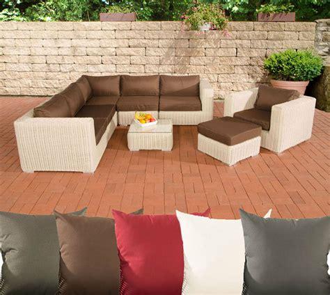 Poly Rattan Gartenmöbel Lounge Set Ariano Perlweiß Garten