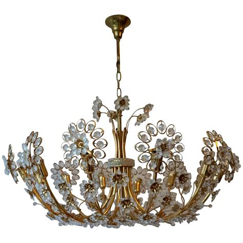 brass and crystal ls hollywood regency style chandelier by palwa gold plated