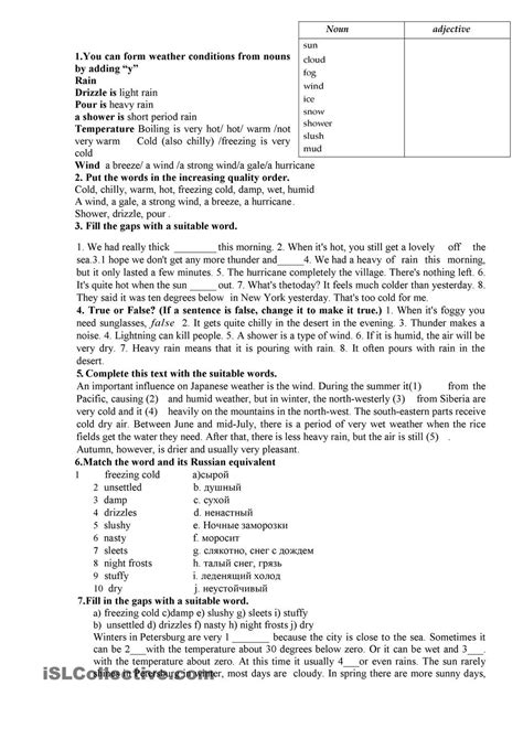 weather  images weather worksheets reading