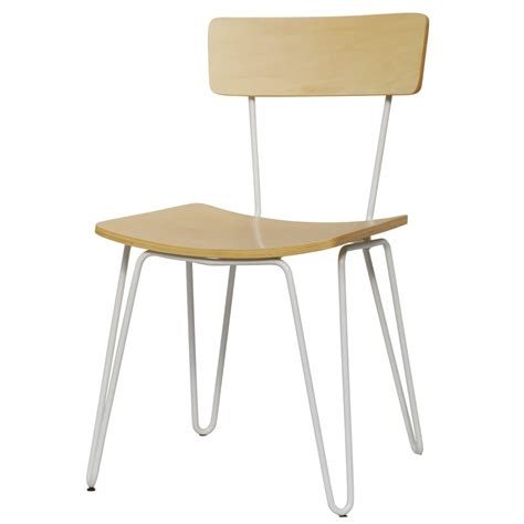 buy white hairpin metal chair with light wood seat from