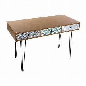 Table De Bureau Design Scandinave 3 Tiroirs Multicolores