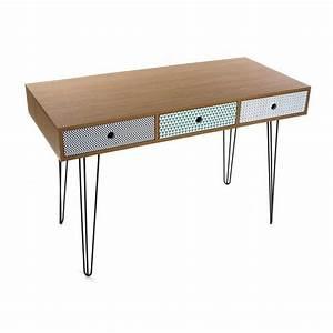 Bureau Design Scandinave : table de bureau design scandinave 3 tiroirs multicolores versa 21090003 ~ Teatrodelosmanantiales.com Idées de Décoration