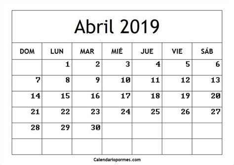 Abril 2019 Calendario Imprimir Archives