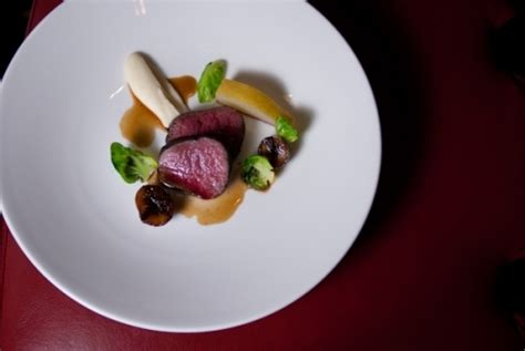 venison medallion pear chestnut celeriac  coffee