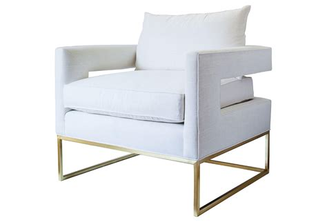 bevin linen accent chair white gold from one