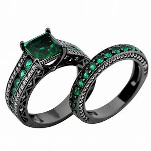 Green emerald engagement set ring womens 10kt black gold for Emerald wedding rings for women