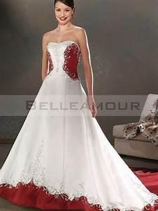 robe de mariee rouge blanche bicolore luxe a ligne bustier With robe de mariée rouge avec alliance or blanc