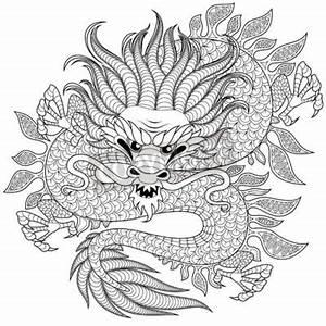 Drachen Schwarz Weiß : chinesischer drache im zentangle stil f r tattoo adult antistress fototapete fototapeten ~ Orissabook.com Haus und Dekorationen