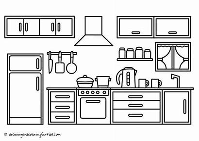 Coloring Kitchen Pages Drawing Cabinets Printable Sketch