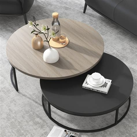 Shop furniture, lighting, storage & more! Modern Round Nesting Coffee Table 2-Piece Extendable Grey & Black Living Room Accent Table ...