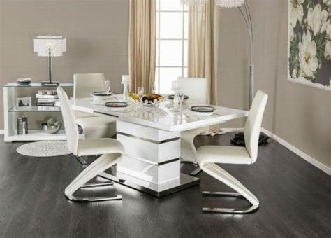 midvale white  chrome extendable rectangular dining