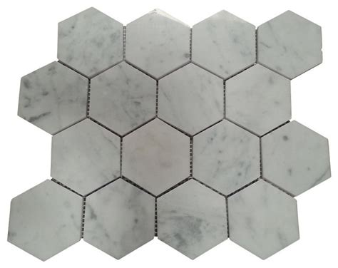 carrara marble polished 3 inch 3x3 hexagon mosaic tile