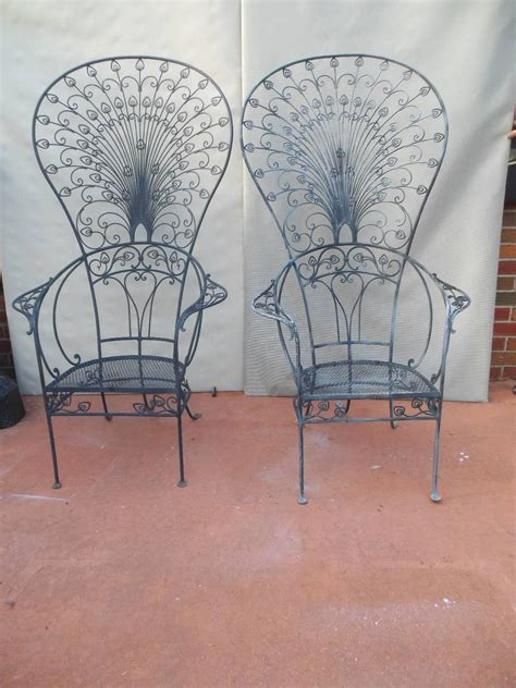 salterini peacock wrought iron chairs for sale at 1stdibs