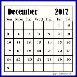 Free Printable Monthly Calendar December 2017