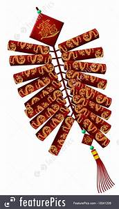 Chinese New Year Dragon Firecrackers Illustration