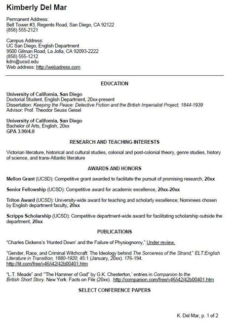 Sle Curriculum Vitae Template by Uc San Diego Cv Exle For Undergraduate Students