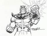 Thanos Coloring Infinity Pages Gauntlet Fist Marvel Drawing Power Adams Lineart Neal Printable Print Comics War Avengers 1980s Card Paper sketch template