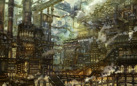 wallpaper anime steampunk city industrial scenic