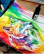 Wolves  Wolf painting and Paintings on Pinterest  Colorful Wolf Painting