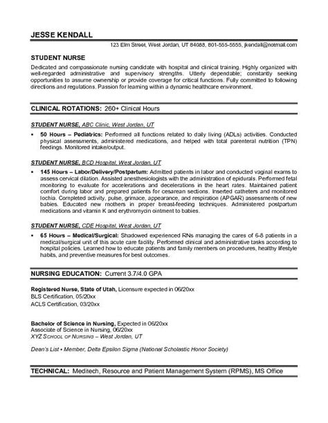 Nurses Resumes by Exle Student Resume Free Sle Nursing School Exles Sles And