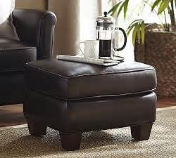 sullivan leather square sullivan leather square ottoman pottery barn
