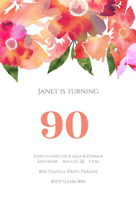 watercolor classic birthday invitation template