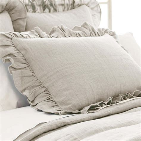 stone washed linen pearl grey ruffled sham pine cone hill