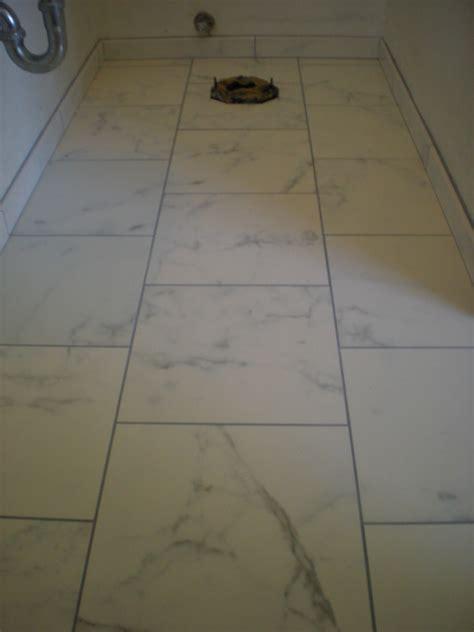 Faux Marble Custom Tile Bathroom Floor And Shower Gray