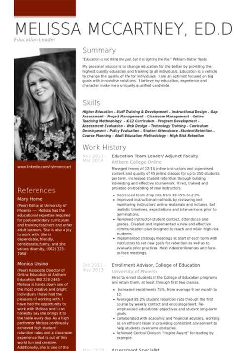 educational leadership resume exles team leader resume sles visualcv resume sles database