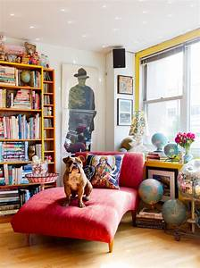 Bright, Cheap, Chaise, Lounge, In, Living, Room, Eclectic, With