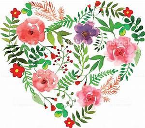 Herz Mit Blumen : blumen herz mit isoliert blumen kr utern und bl ten gezeichnet aquarell stock vektor art und ~ Frokenaadalensverden.com Haus und Dekorationen