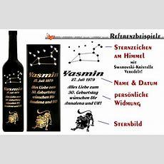 Wein Mit Edler Sternzeichengravur Und Persönlicher Widmung